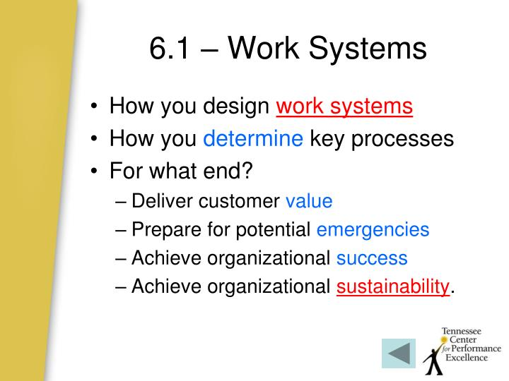 6.1 – Work Systems