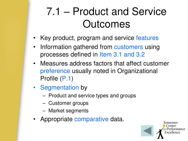 7.1 – Product and Service Outcomes