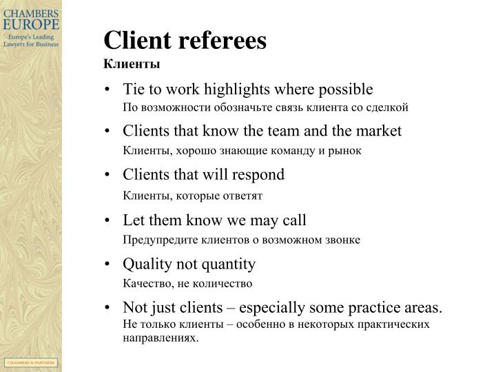 Client referees