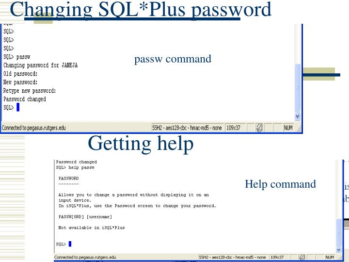 Changing SQL*Plus password