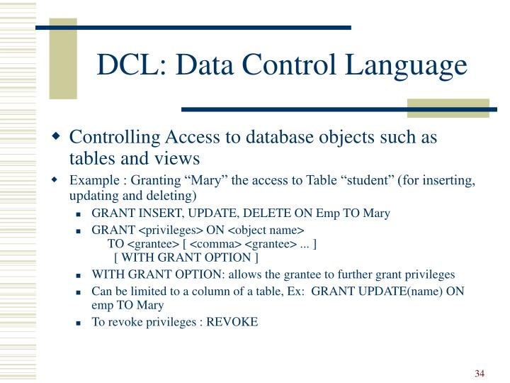 DCL: Data Control Language