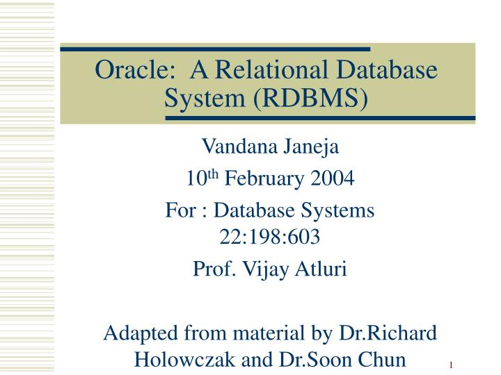 Oracle a relational database system rdbms