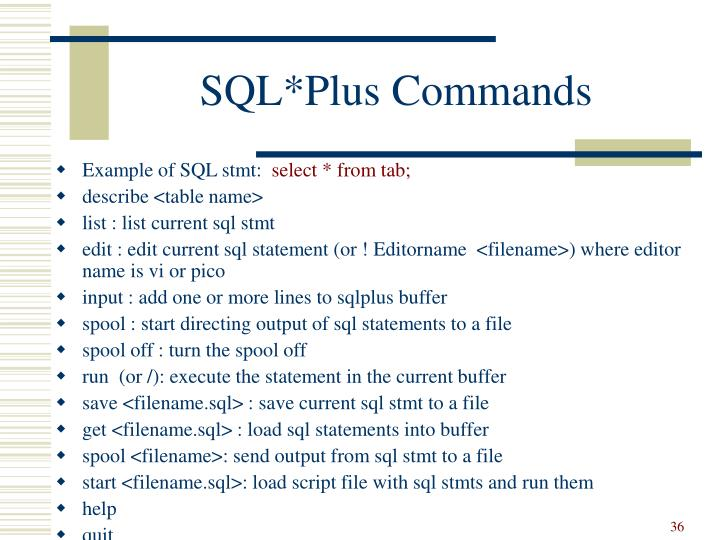 SQL*Plus Commands