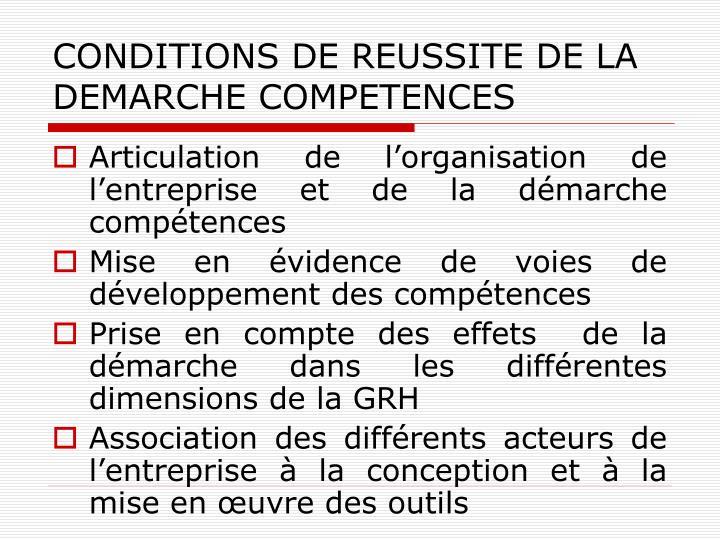 CONDITIONS DE REUSSITE DE LA DEMARCHE COMPETENCES