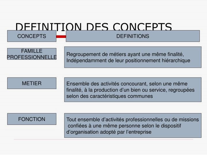 DEFINITION DES CONCEPTS