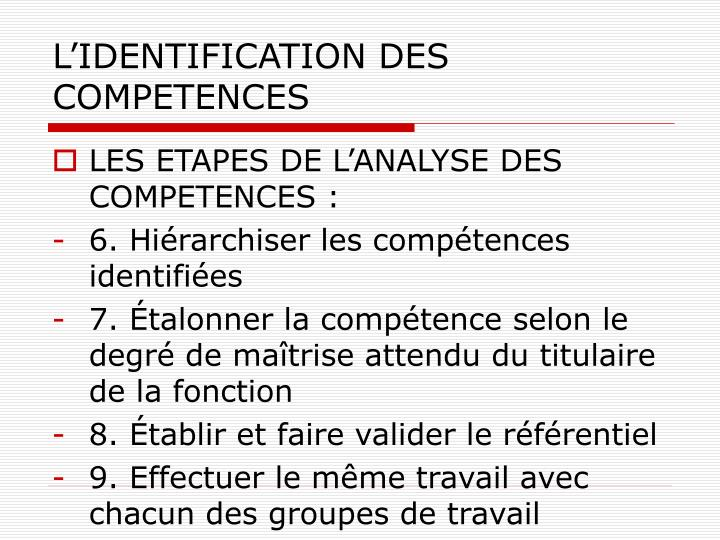 L'IDENTIFICATION DES COMPETENCES