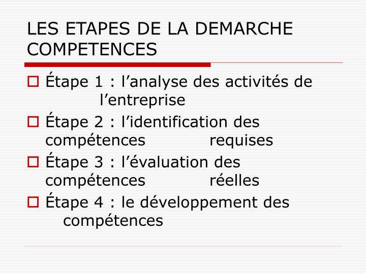 LES ETAPES DE LA DEMARCHE COMPETENCES