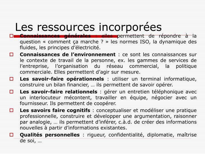Les ressources incorporées