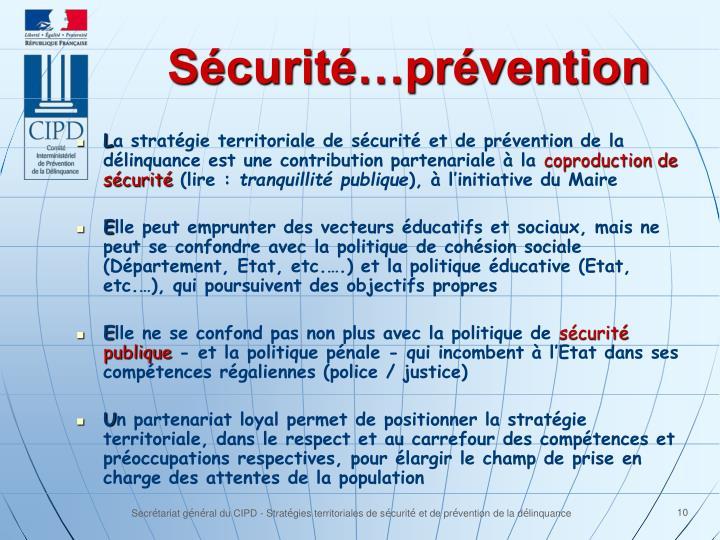 Sécurité…prévention