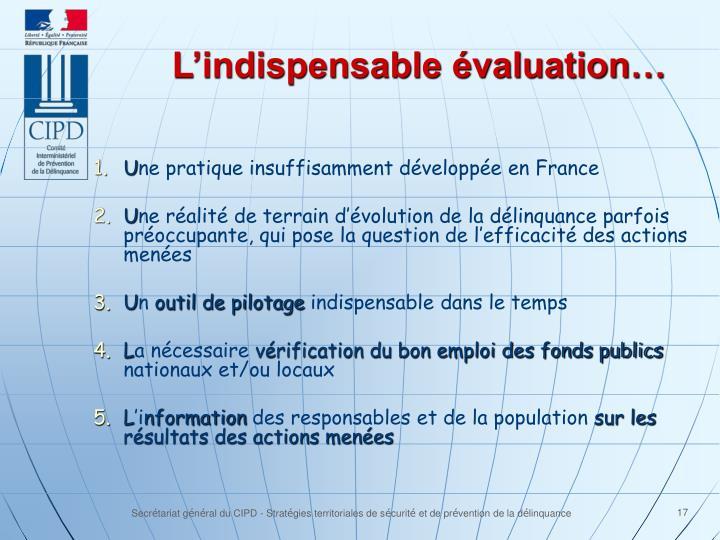 L'indispensable évaluation…
