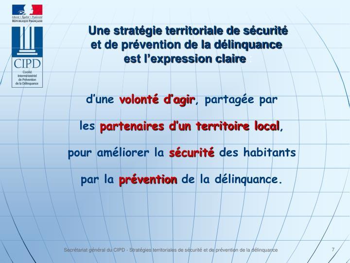 Une stratégie territoriale de sécurité