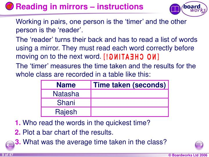 Reading in mirrors – instructions