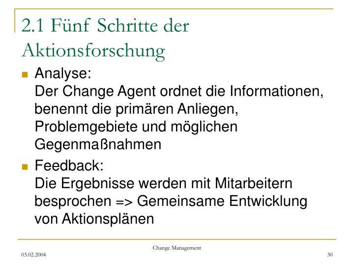2.1 Fünf Schritte der Aktionsforschung