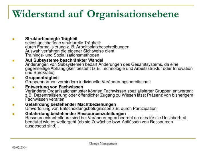 Widerstand auf Organisationsebene