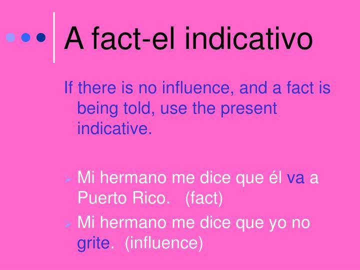A fact-el indicativo
