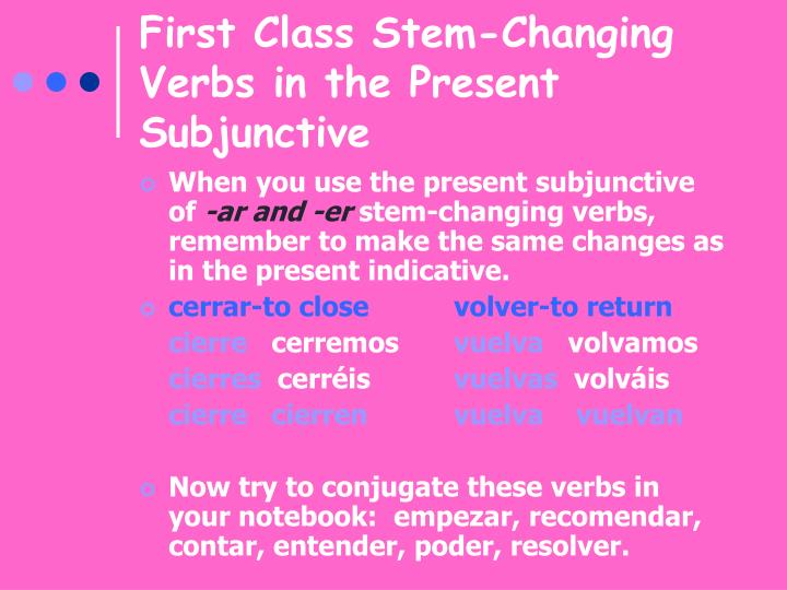 First Class Stem-Changing Verbs in the Present Subjunctive