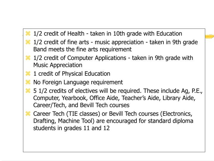 1/2 credit of Health - taken in 10th grade with Education