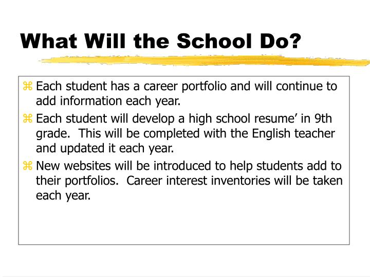 Each student has a career portfolio and will continue to add information each year.