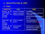 11 reajustes para el 2005 a reas