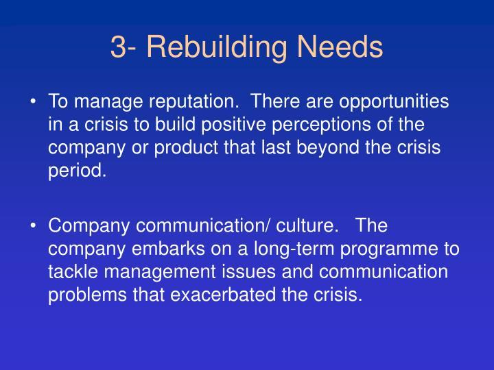 3- Rebuilding Needs