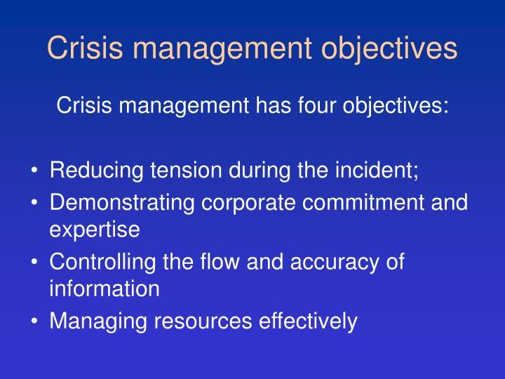 Crisis management objectives