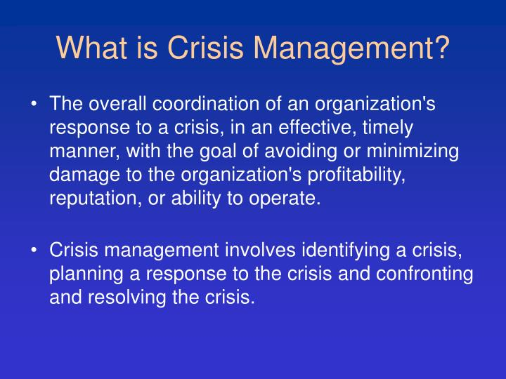 What is Crisis Management?