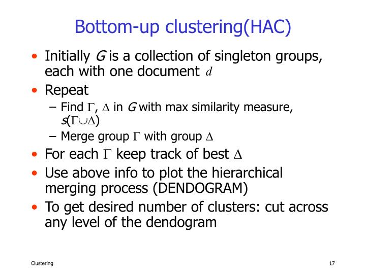 Bottom-up clustering(HAC)
