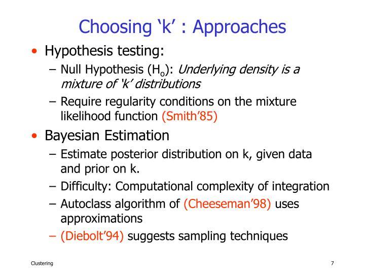 Choosing 'k' : Approaches