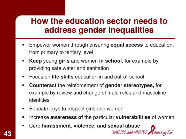 How the education sector needs to address gender inequalities