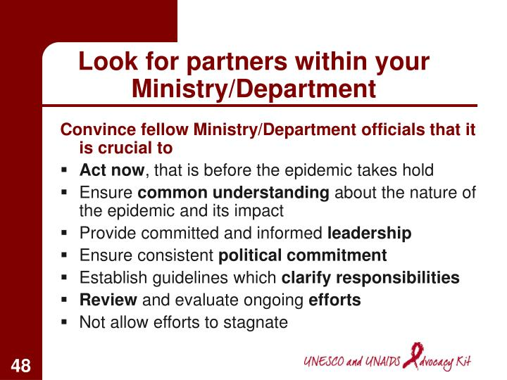 Look for partners within your Ministry/Department
