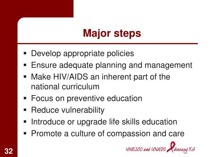 Major steps