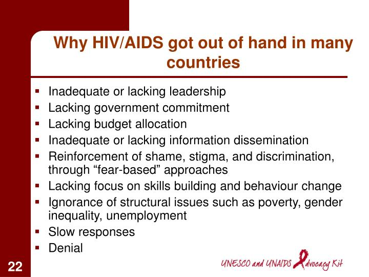 Why HIV/AIDS got out of hand in many countries