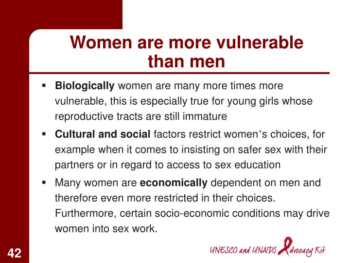 Women are more vulnerable than men