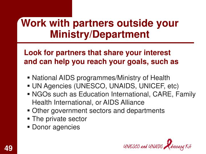 Work with partners outside your Ministry/Department