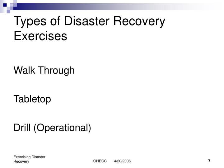 Types of Disaster Recovery Exercises