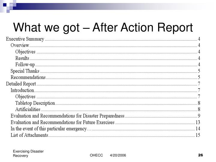 What we got – After Action Report