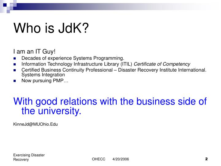 Who is JdK?