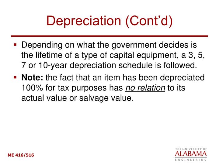 Depreciation (Cont'd)