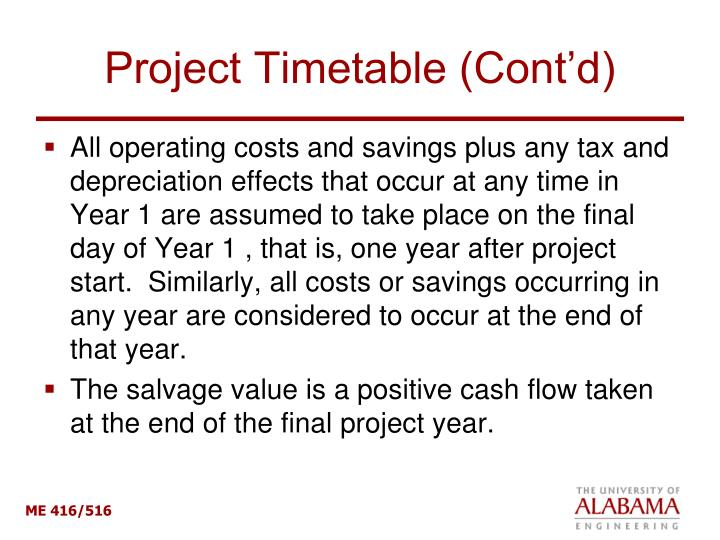 Project Timetable (Cont'd)