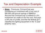 tax and depreciation example
