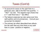 taxes cont d