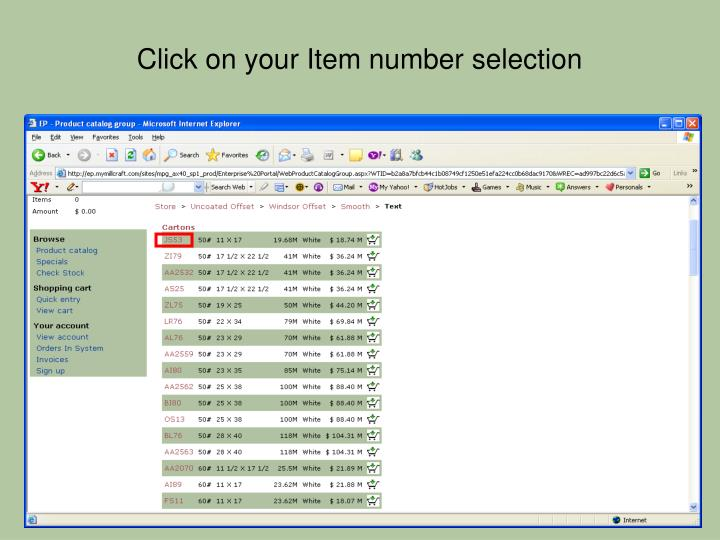 Click on your Item number selection