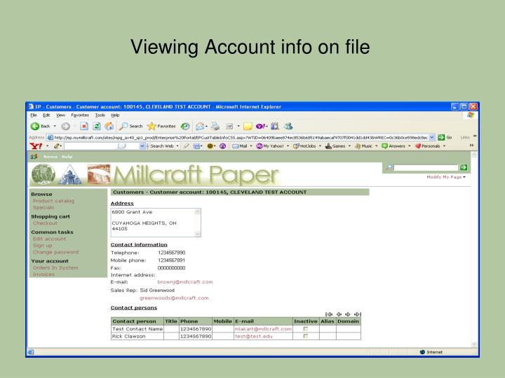 Viewing Account info on file