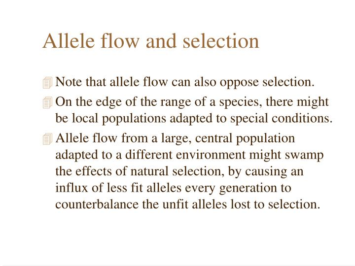 Allele flow and selection