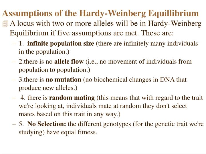Assumptions of the Hardy-Weinberg Equillibrium