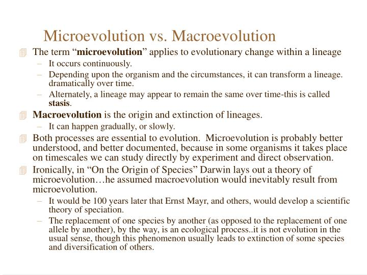 Microevolution vs macroevolution