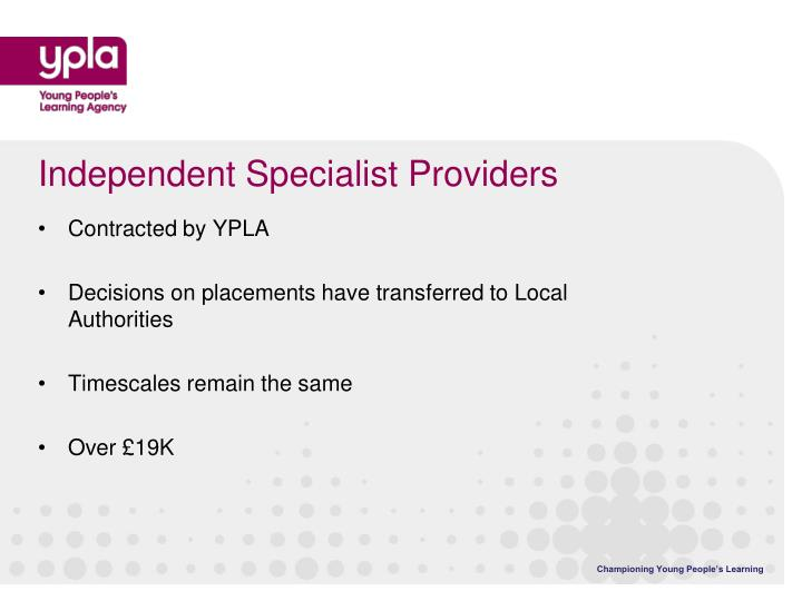 Independent Specialist Providers