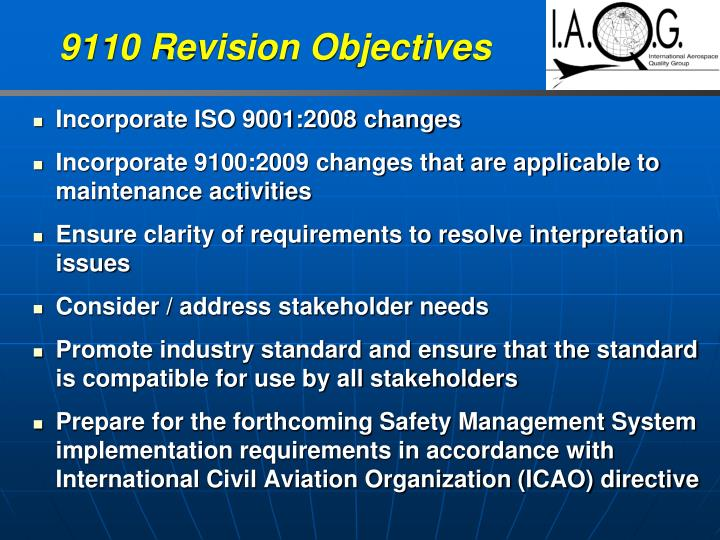 9110 Revision Objectives