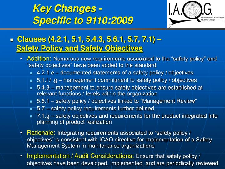Key Changes -                      Specific to 9110:2009