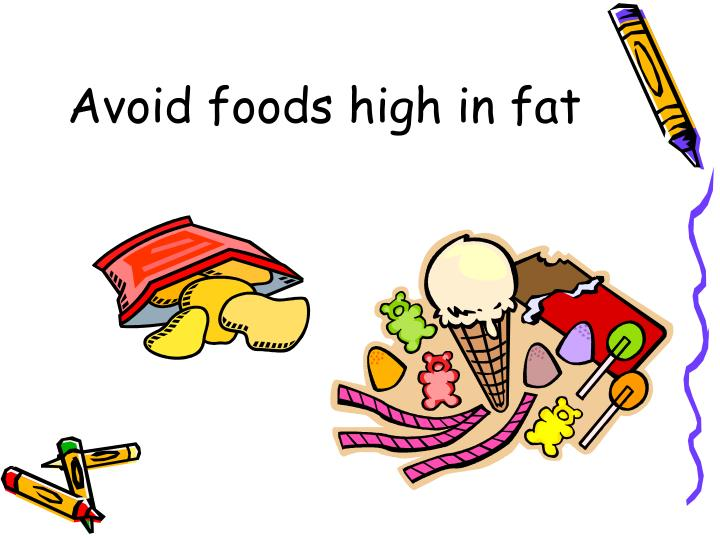 Avoid foods high in fat